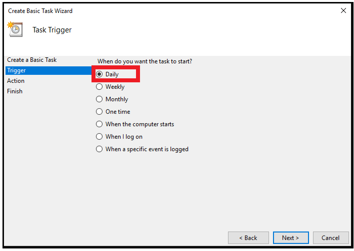 Windows trigger
